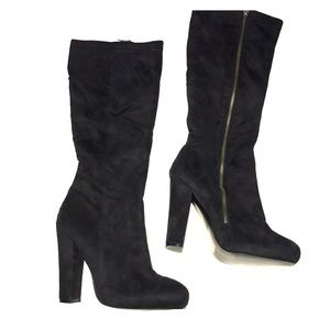 New Express black faux suede boots knee high  10